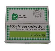 AVG vlees kroketten 10% vlees 32 x 70 gram